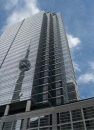 Image of office building in Toronto with the CN Tower